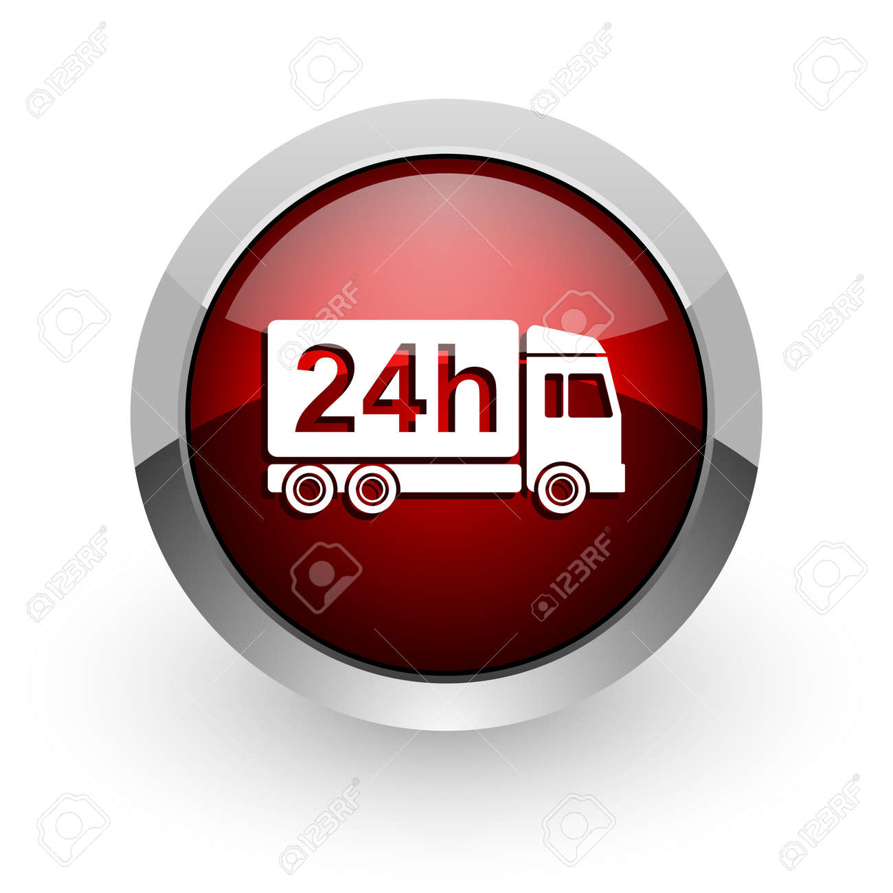 delivery 24h red circle web glossy icon Stock Photo - 18579115