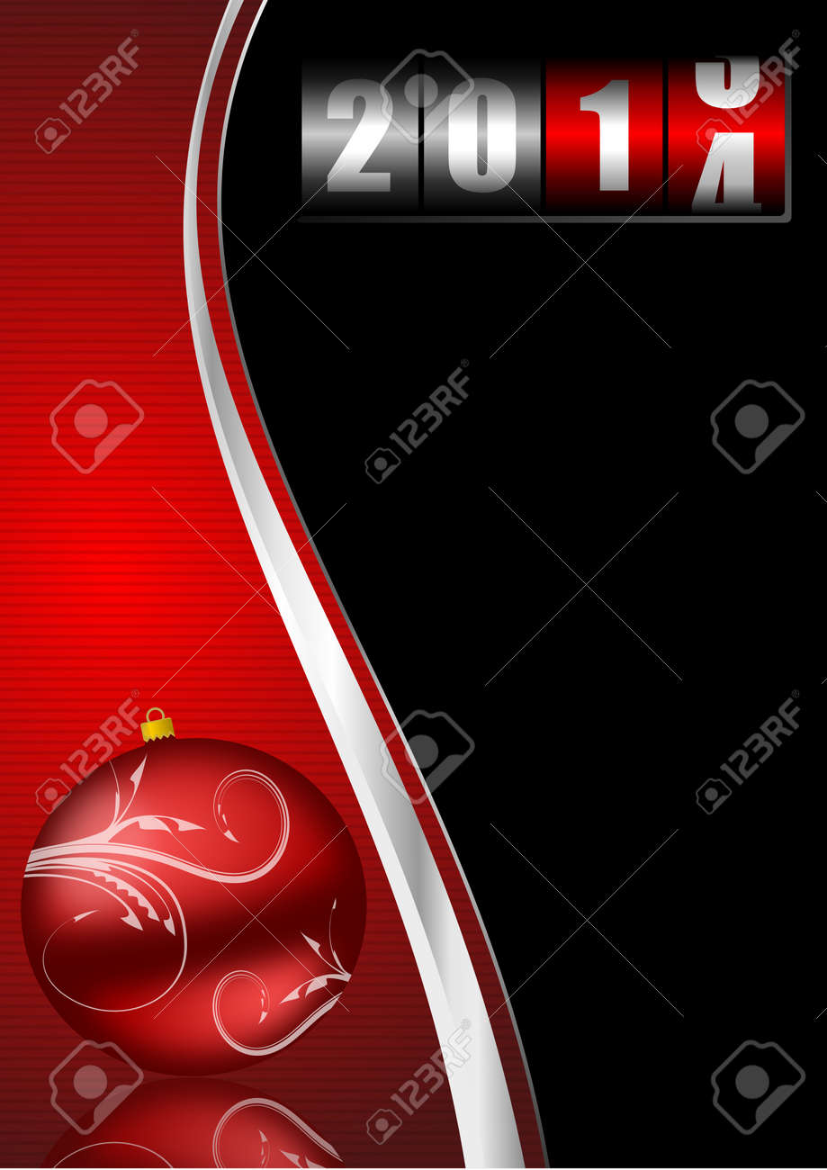 2014 new years illustration with counter and christmas ball Stock Photo - 18747784