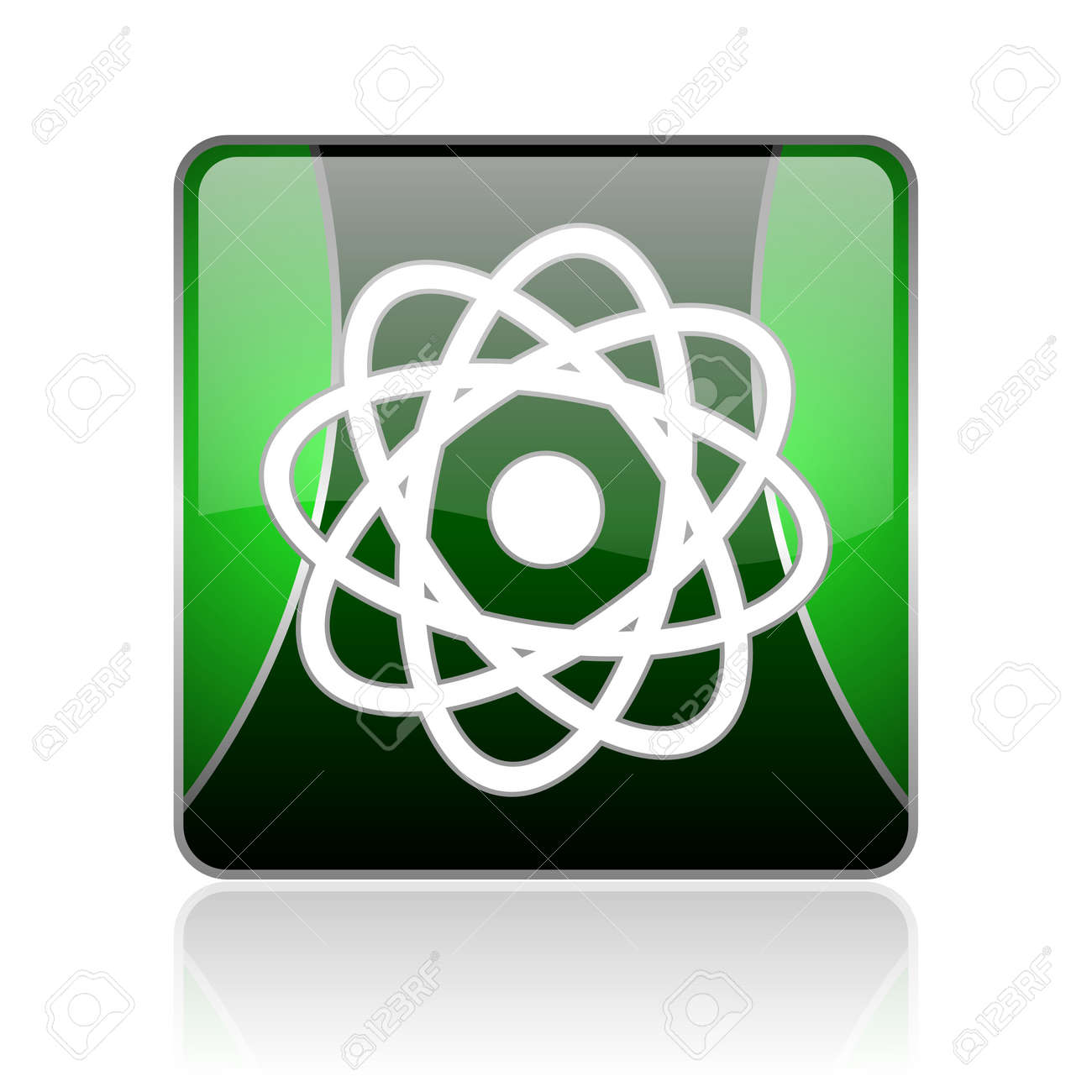 black and green square glossy internet icon on white background with reflaction Stock Photo - 18747694