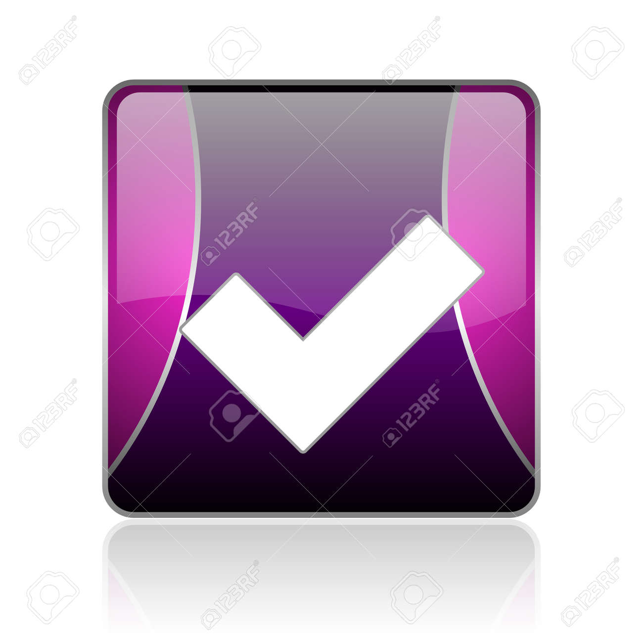 black and violet square glossy internet icon on white background with reflaction Stock Photo - 18887569