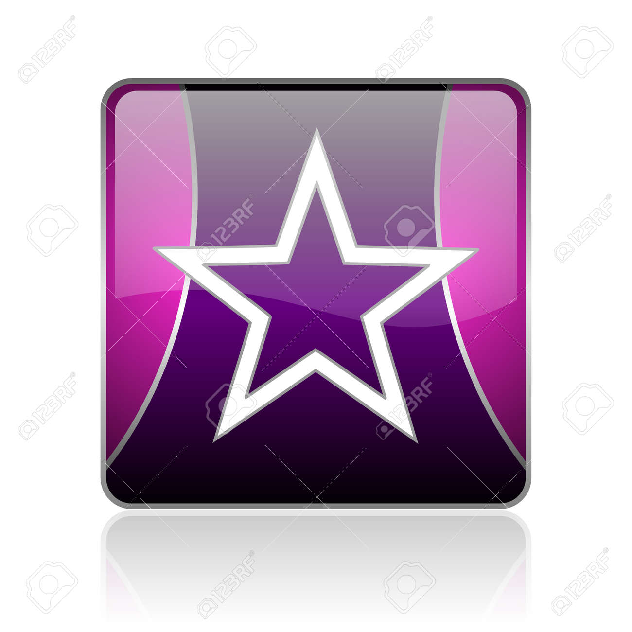 black and violet square glossy internet icon on white background with reflaction Stock Photo - 18888202