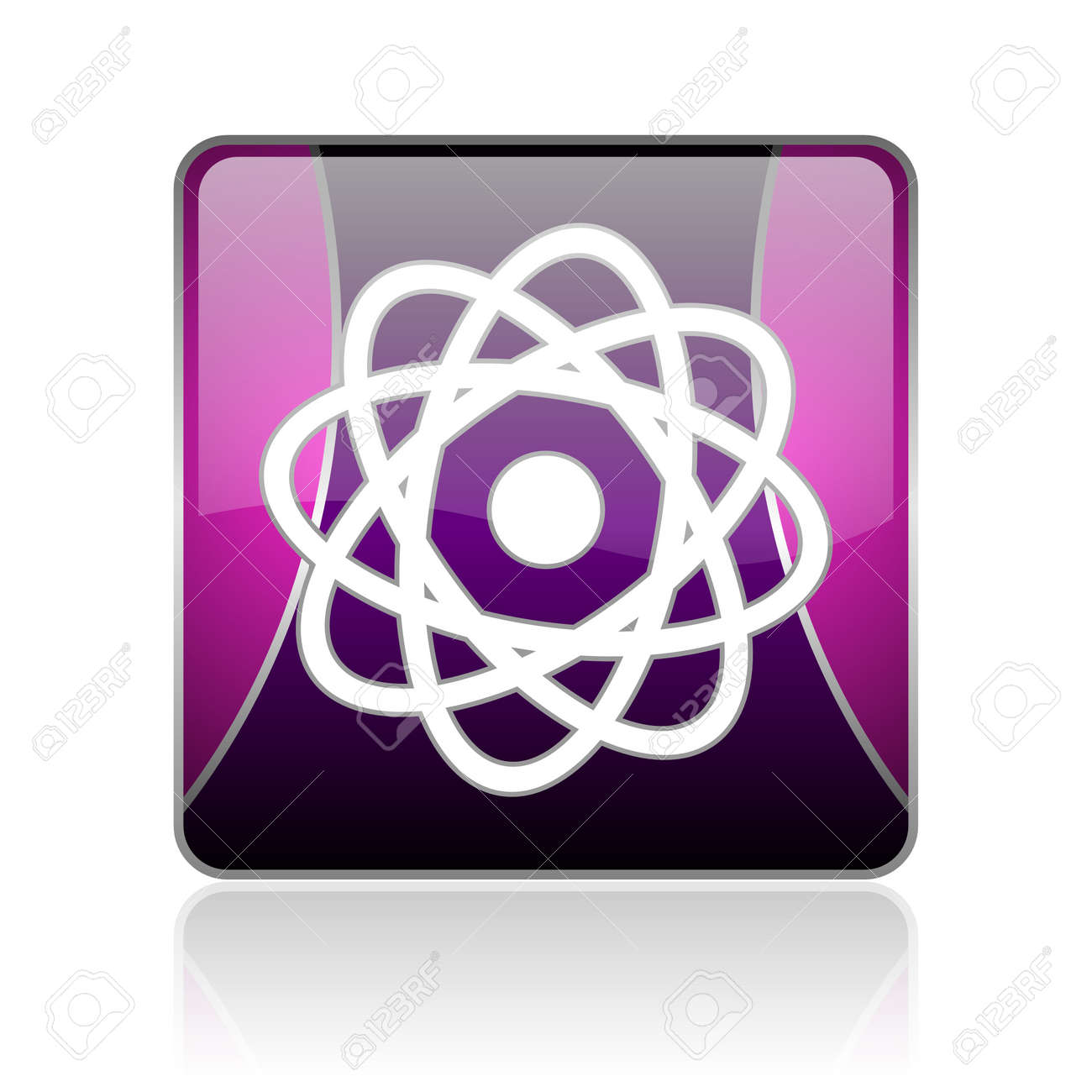 black and violet square glossy internet icon on white background with reflaction Stock Photo - 18888434