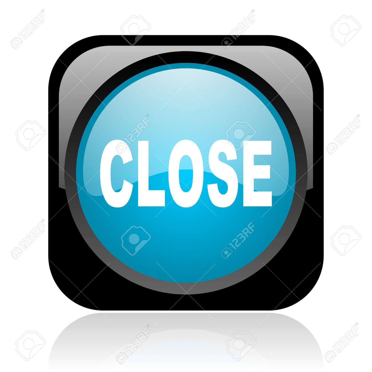 close black and blue square web glossy icon Stock Photo - 18917840