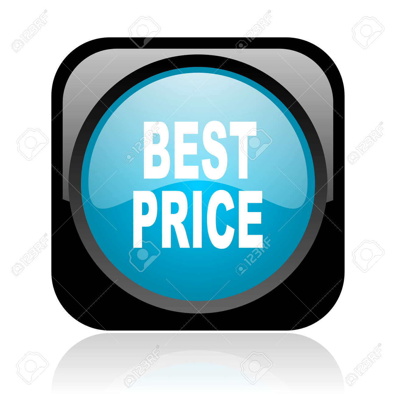 best price black and blue square web glossy icon Stock Photo - 18917780