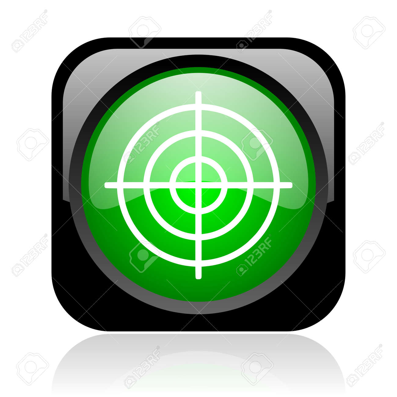 target black and green square web glossy icon Stock Photo - 18972344