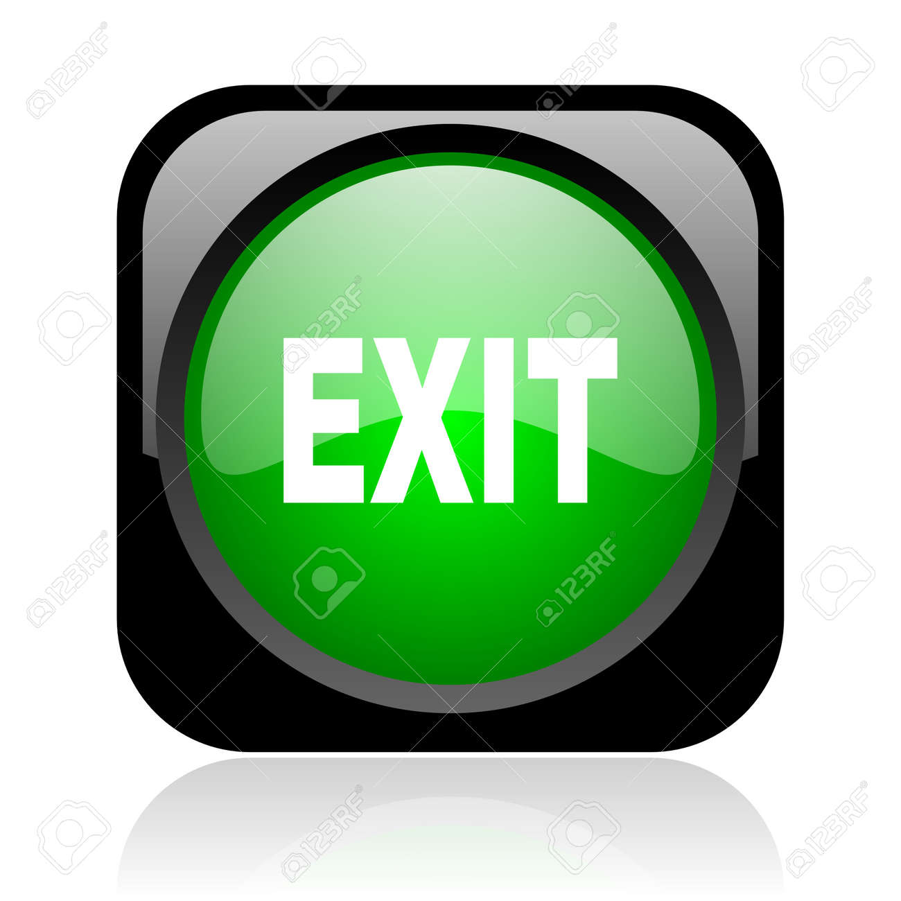 exit black and green square web glossy icon Stock Photo - 19004320