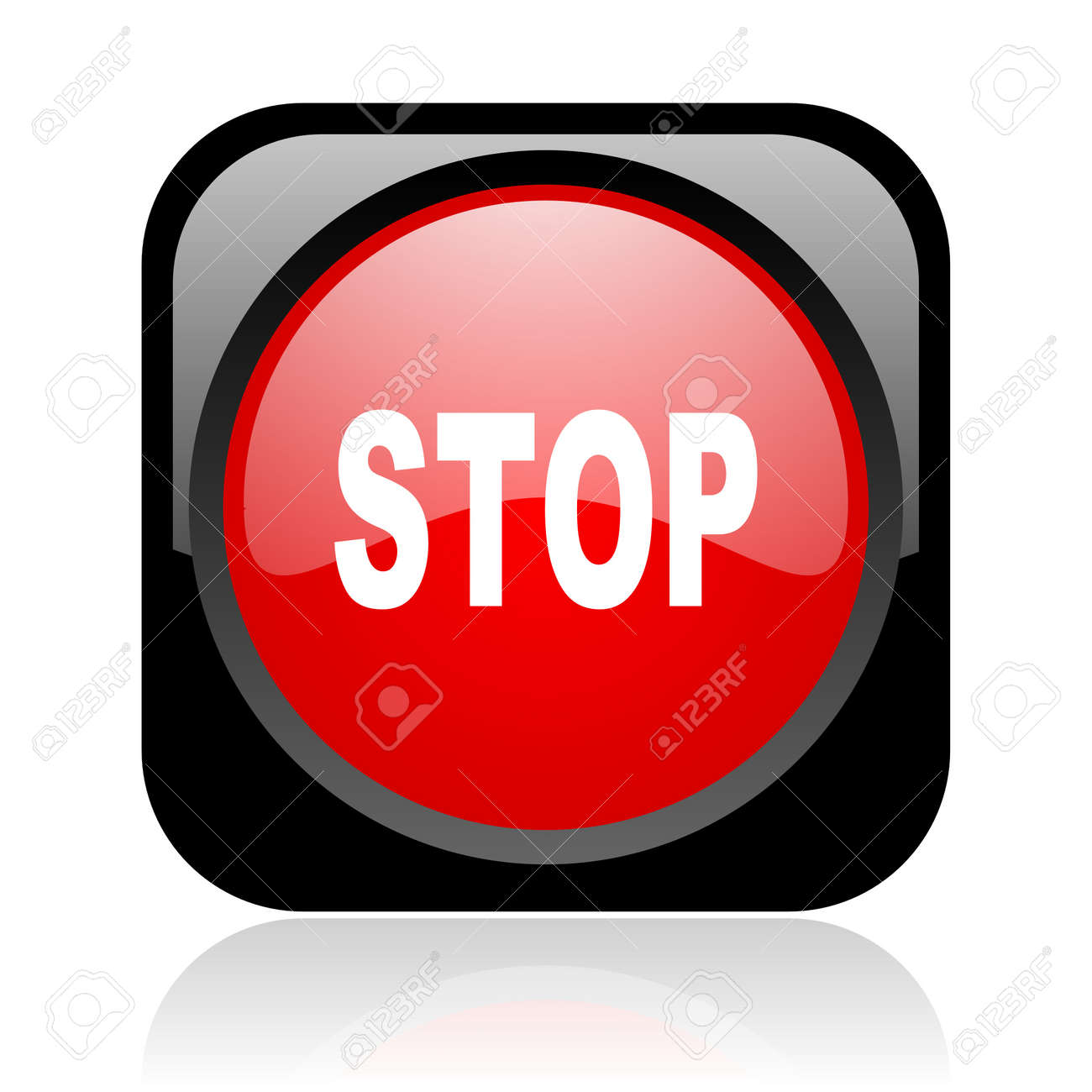 stop black and red square web glossy icon Stock Photo - 19003994