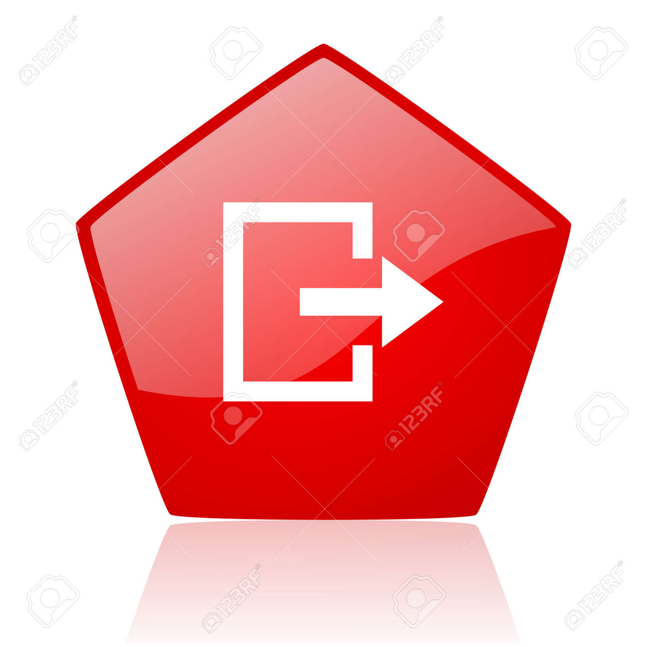 exit red web glossy icon Stock Photo - 19171893
