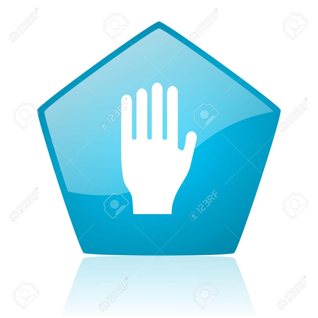 stop blue pentagon web glossy icon Stock Photo - 19171761