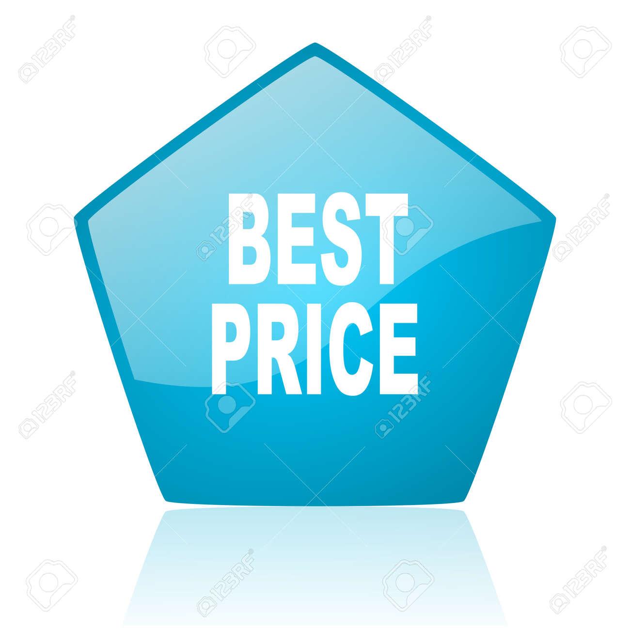best price blue pentagon web glossy icon Stock Photo - 19172147
