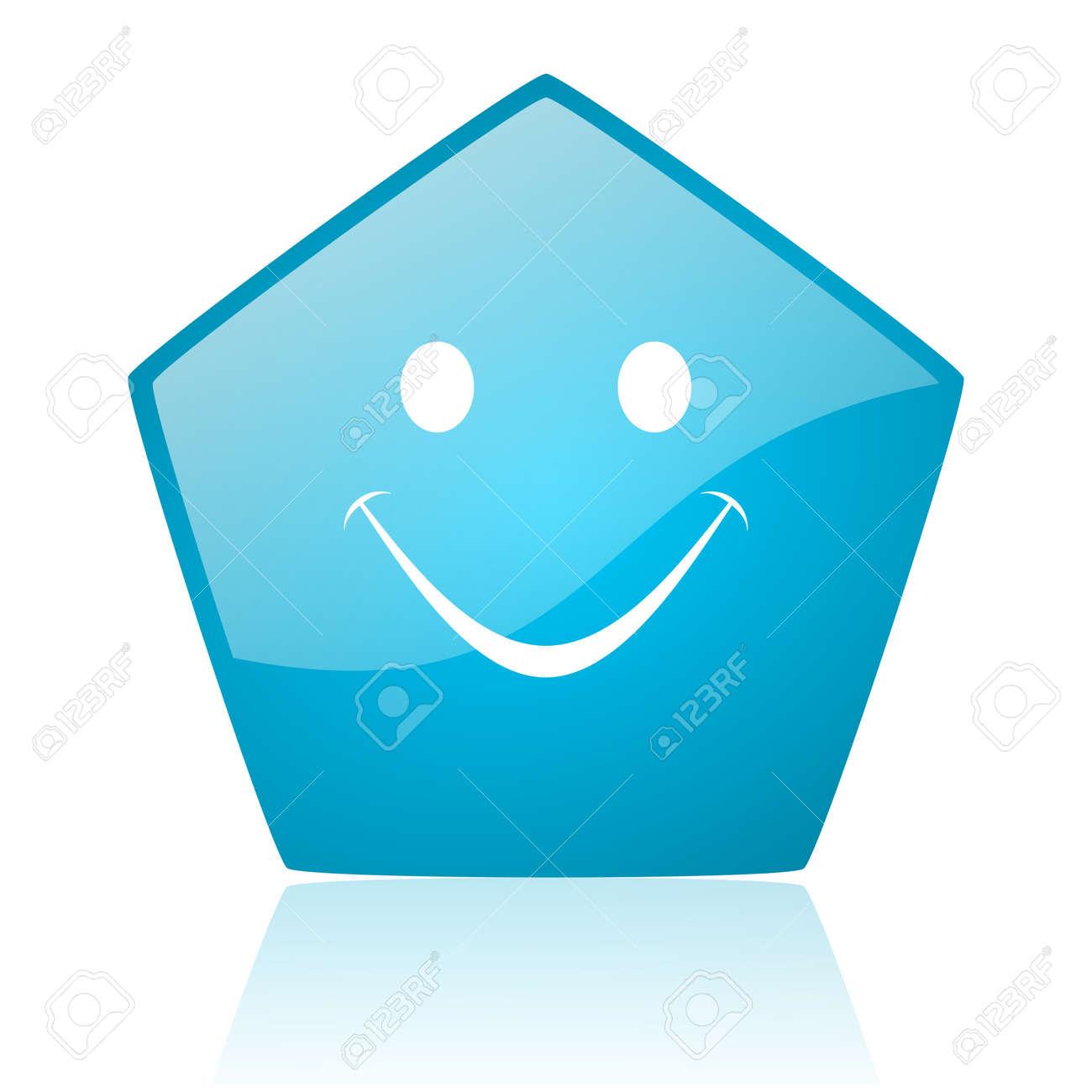smile blue pentagon web glossy icon Stock Photo - 19171923
