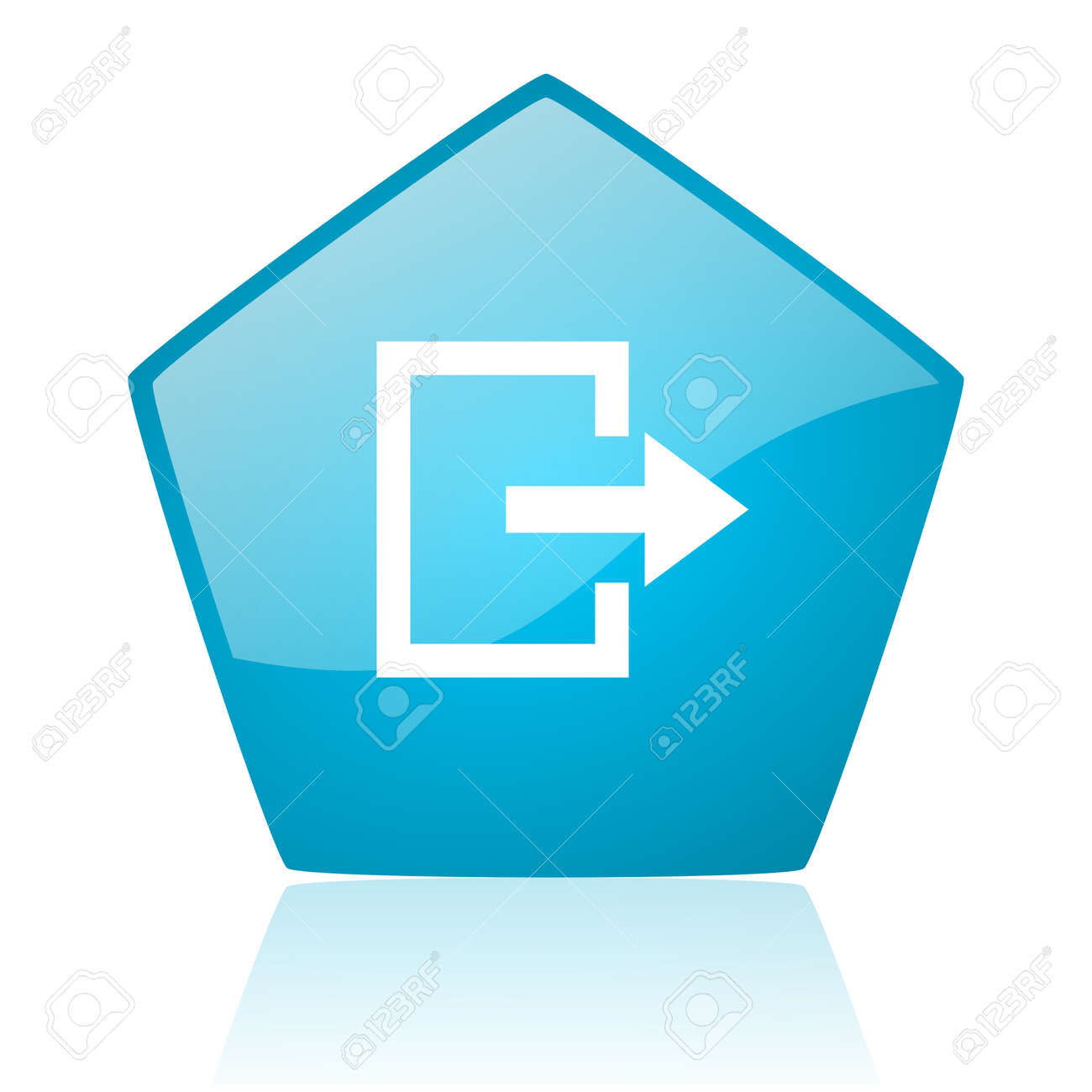 exit blue pentagon web glossy icon Stock Photo - 19171757