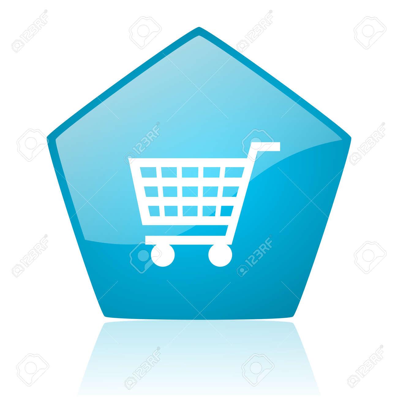 shopping cart blue pentagon web glossy icon Stock Photo - 19228231