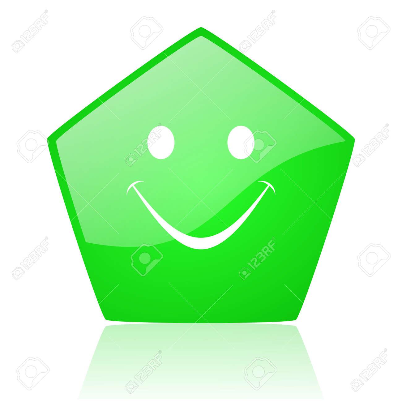 smile green pentagon web glossy icon Stock Photo - 19227950