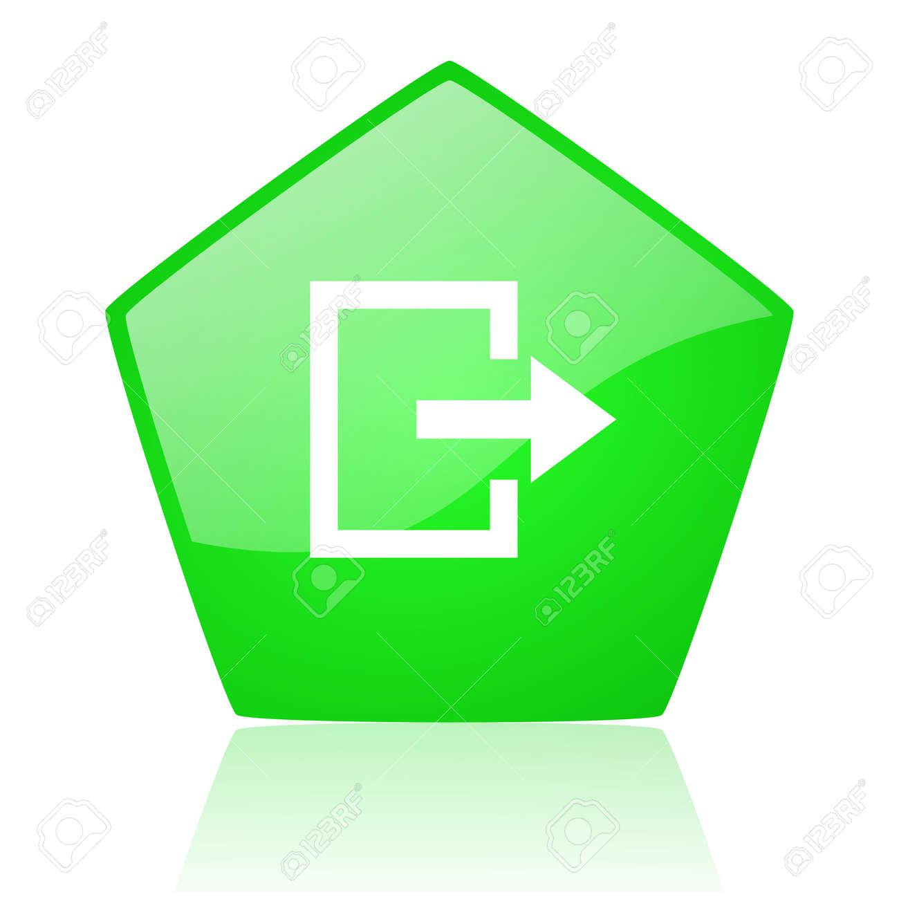 exit green pentagon web glossy icon Stock Photo - 19227673