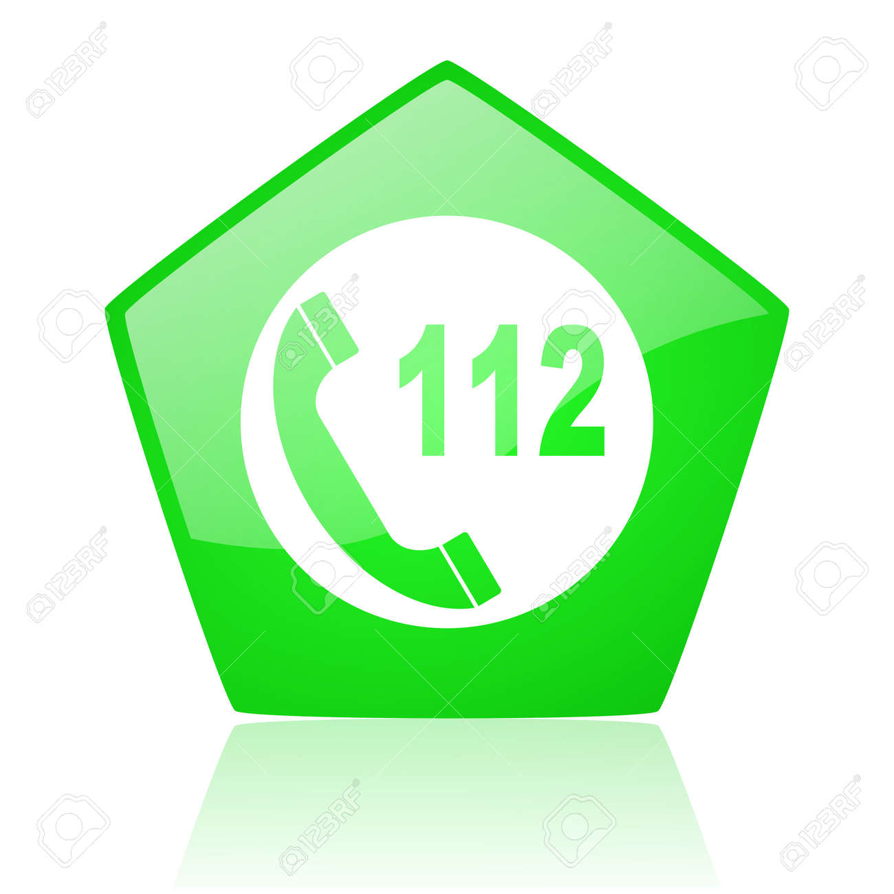 emergency call green pentagon web glossy icon Stock Photo - 19228245