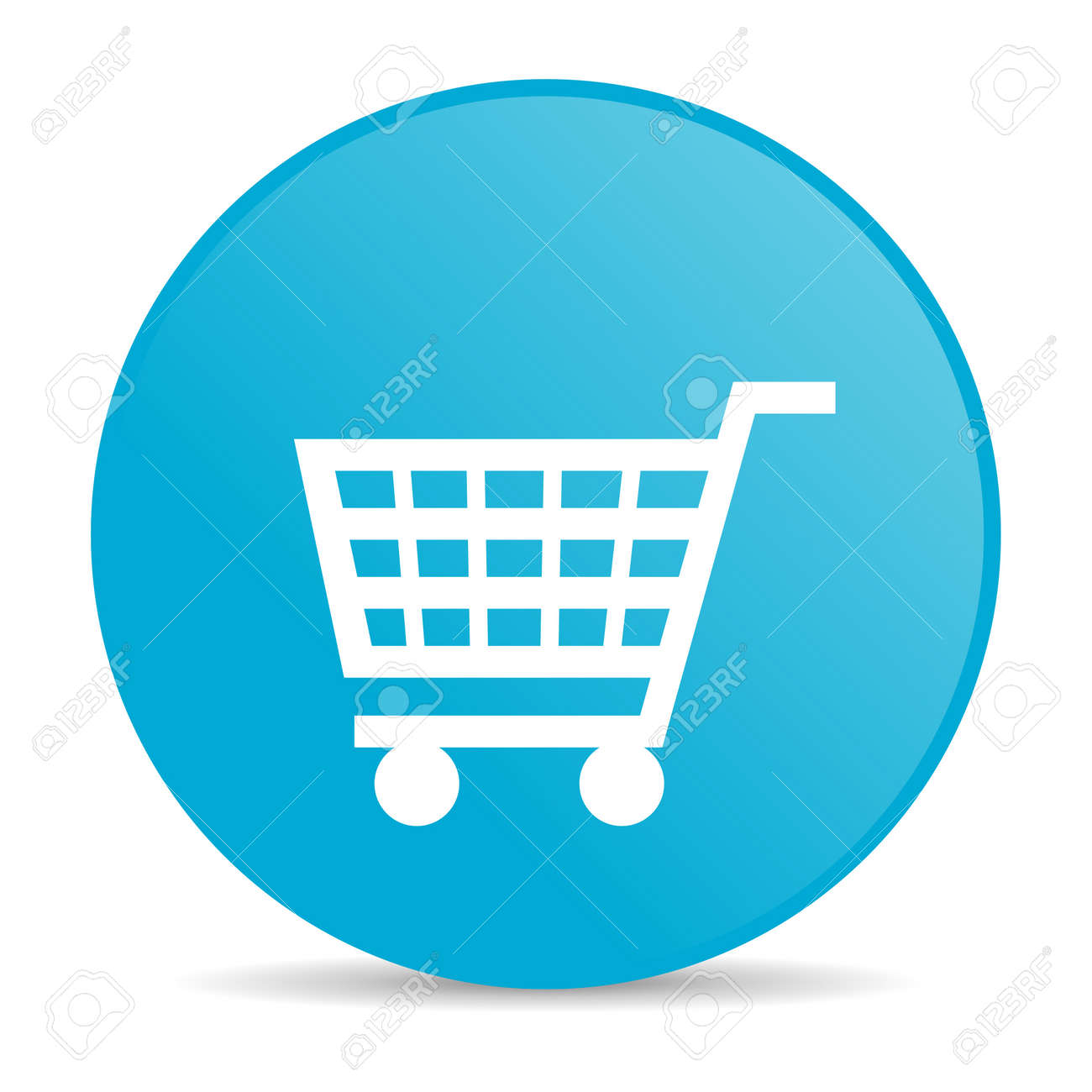 shopping cart blue circle web glossy icon Stock Photo - 19228114
