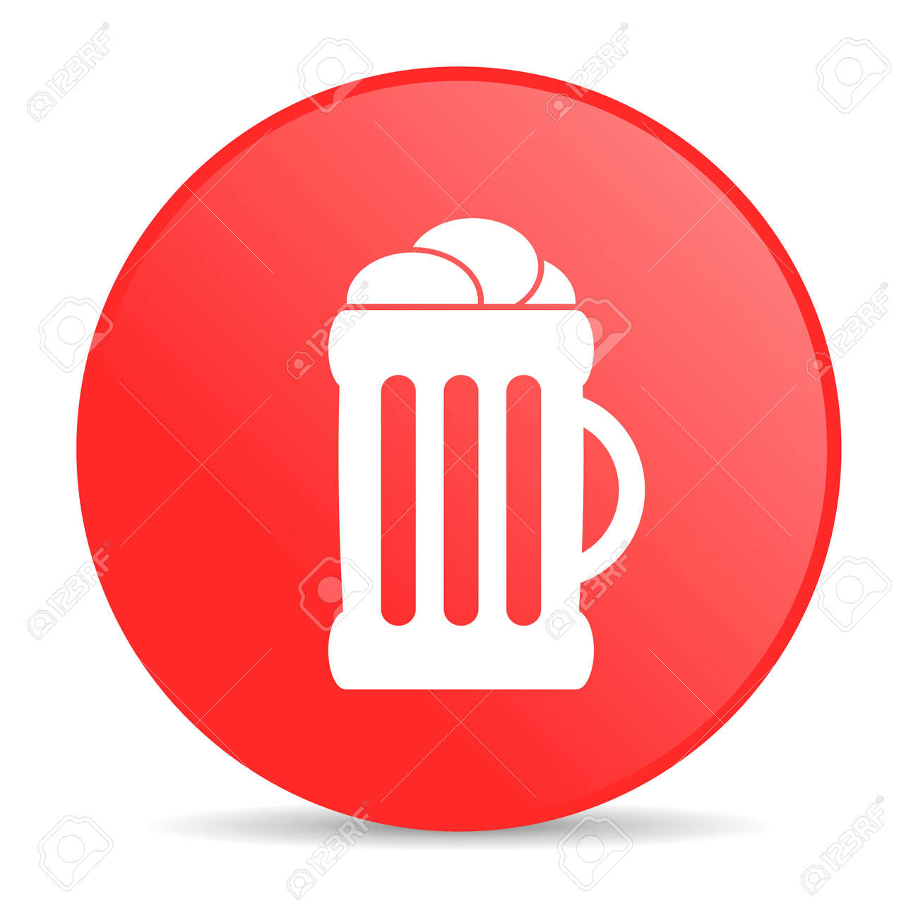beer red circle web glossy icon Stock Photo - 19228169