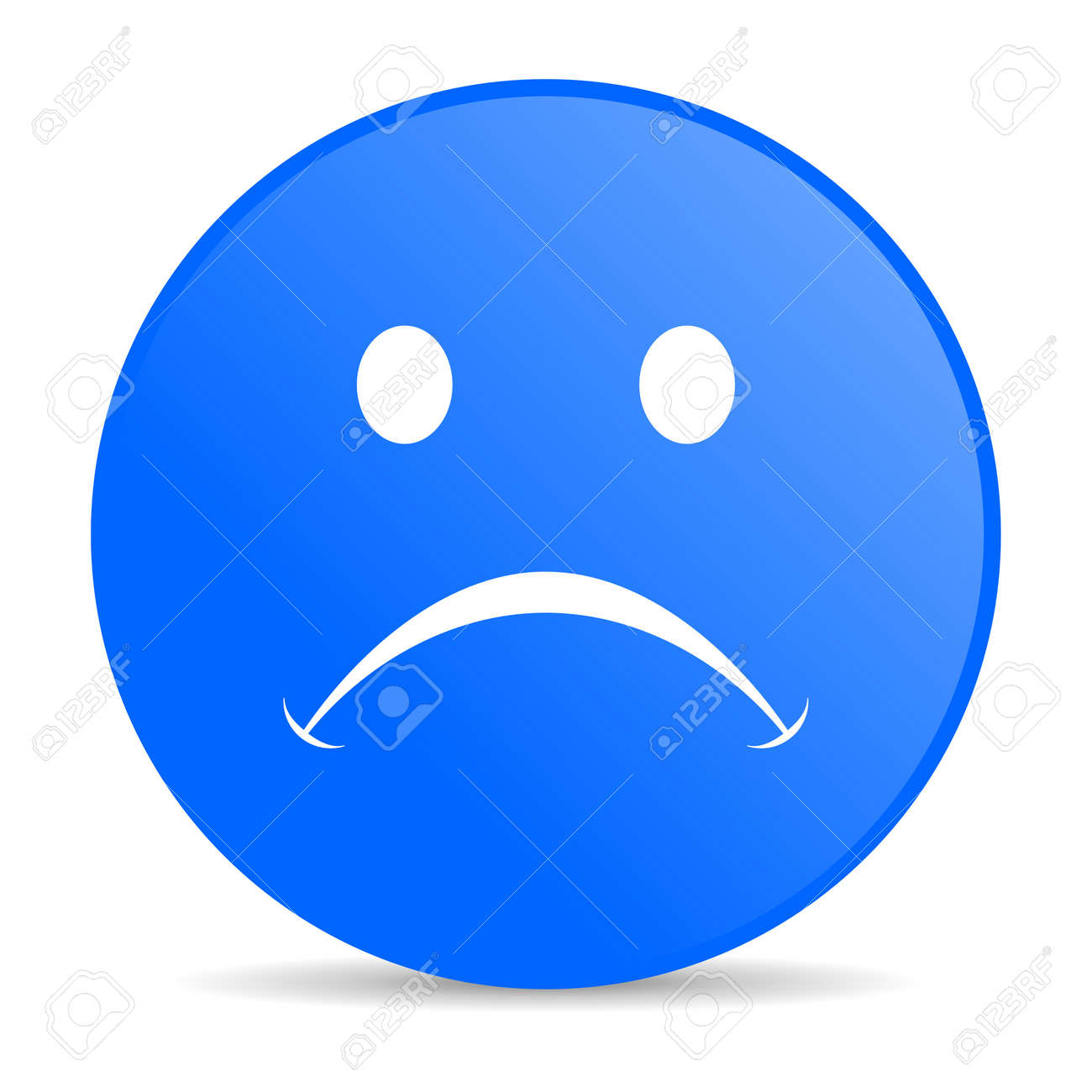 cry blue circle web glossy icon Stock Photo - 19303050