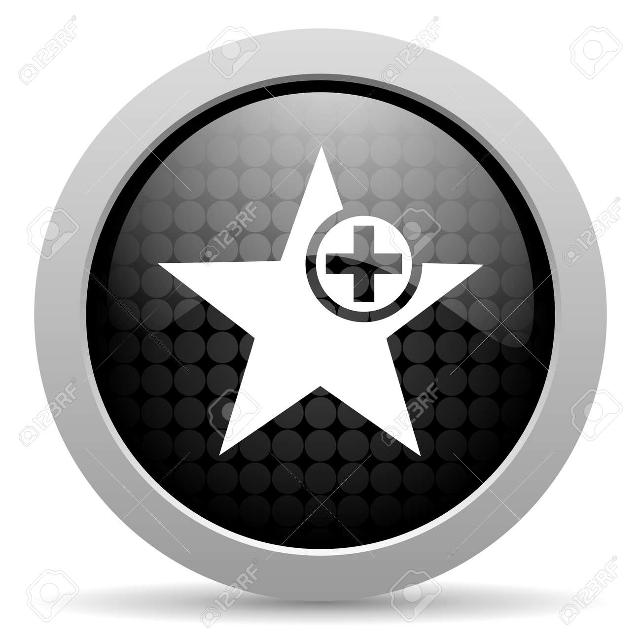 star black circle web glossy icon Stock Photo - 19347597