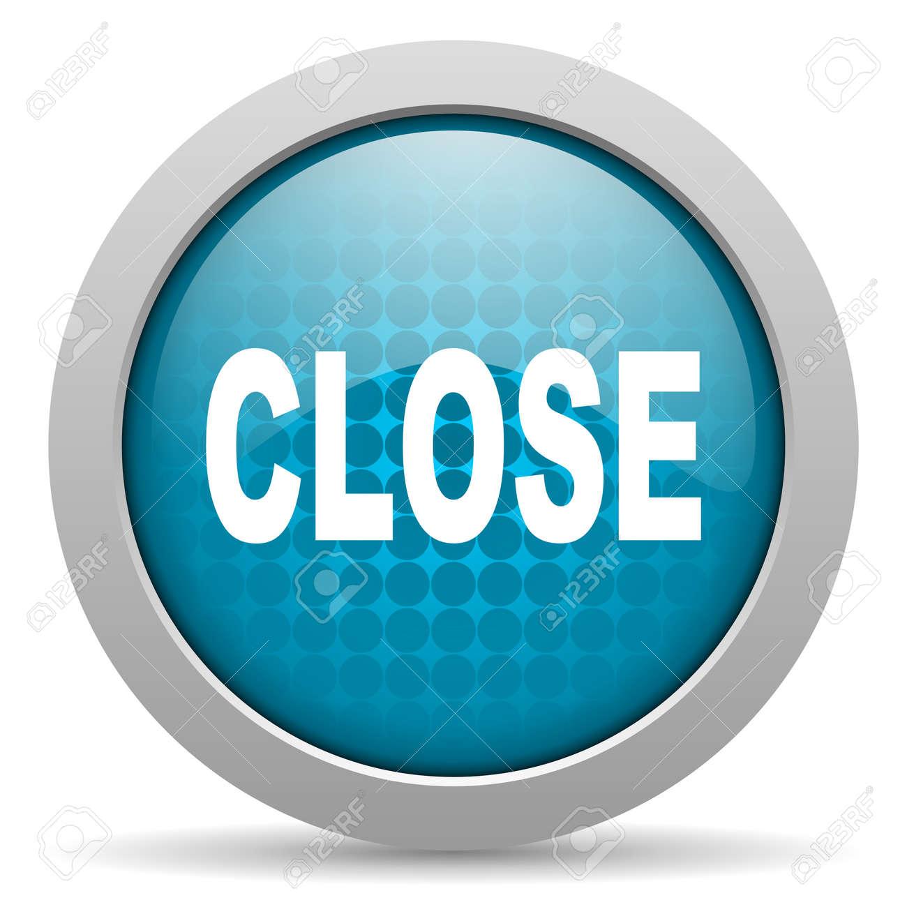 close blue circle web glossy icon Stock Photo - 19348192