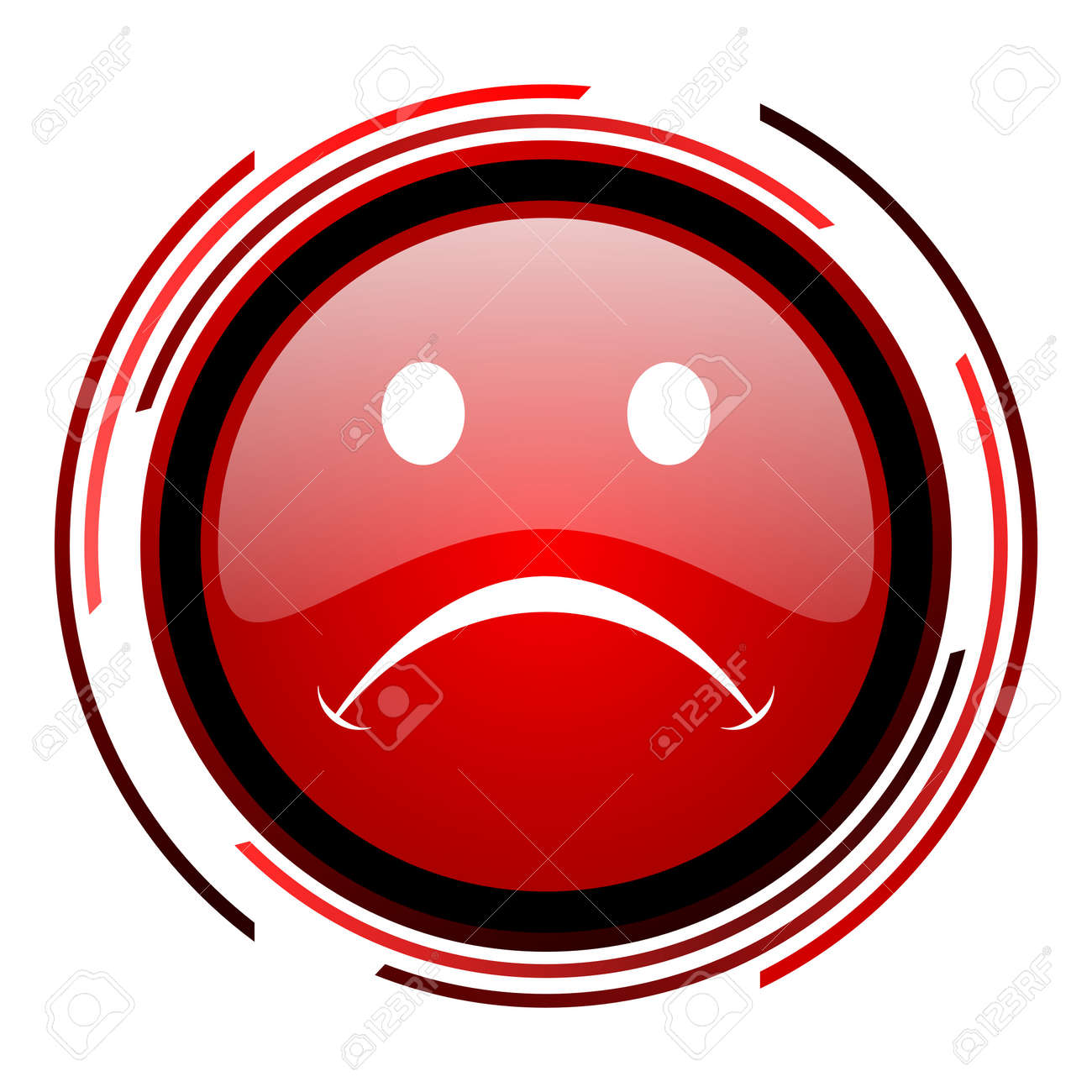 cry red circle web glossy icon on white background Stock Photo - 19640715