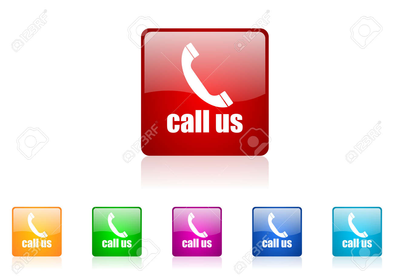 call us square web glossy icons set Stock Photo - 19640531