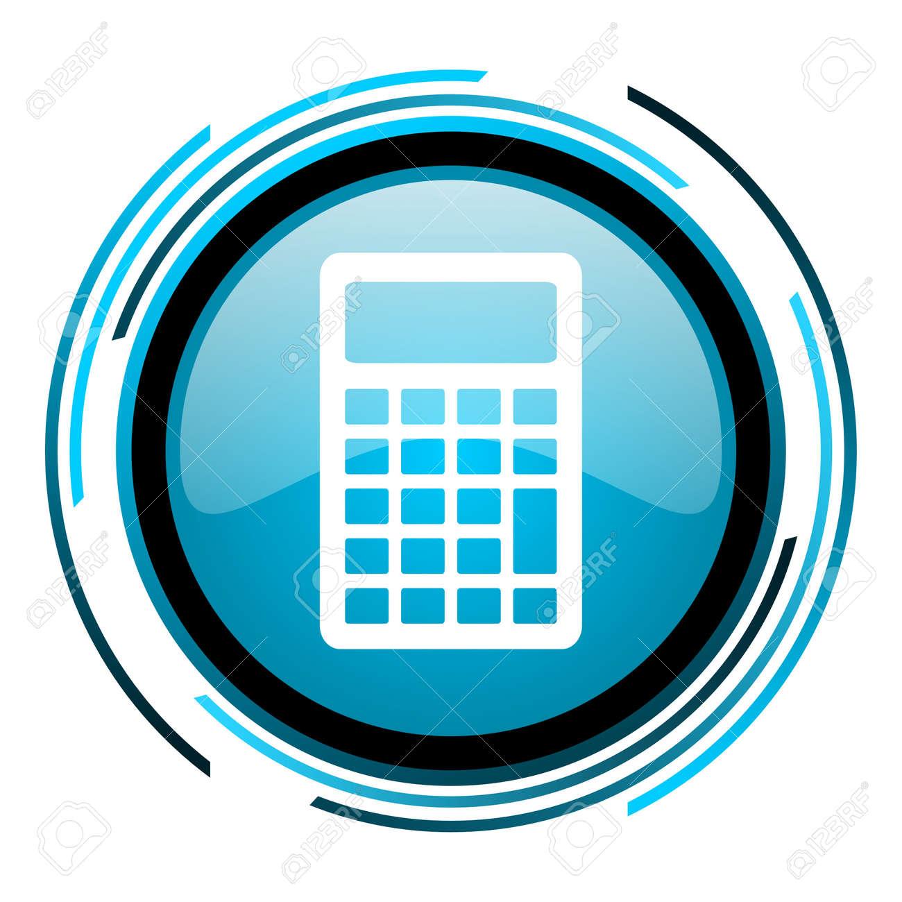 calculator blue circle glossy icon Stock Photo - 19705414