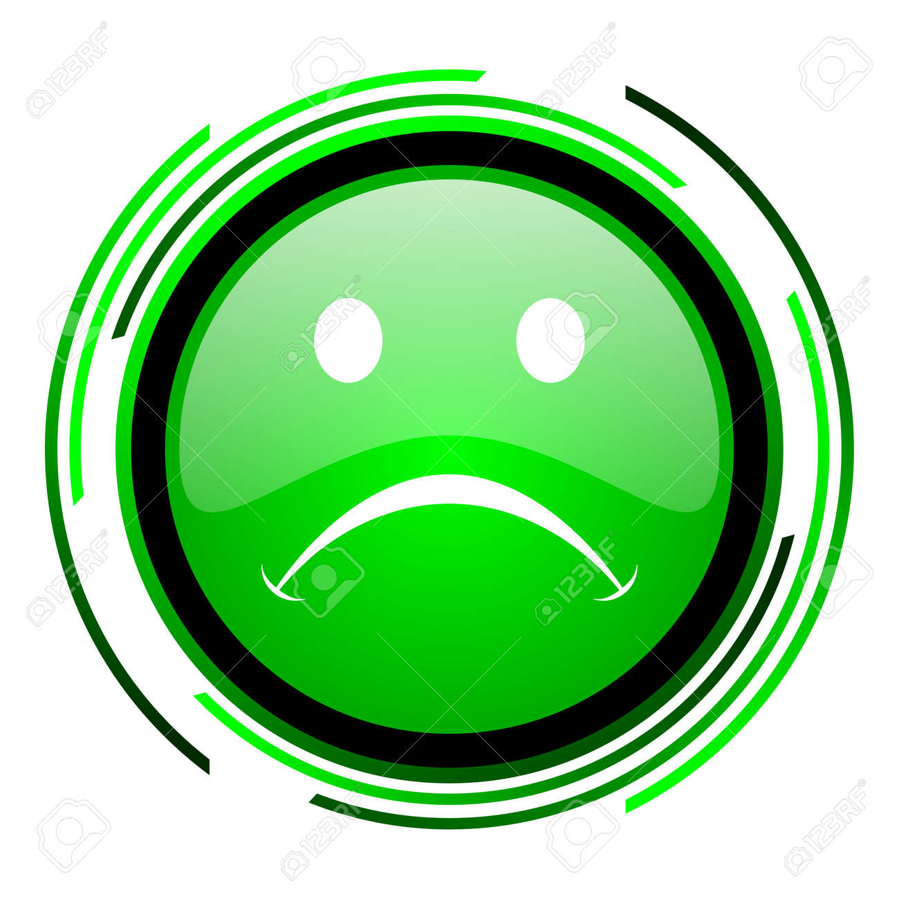 cry green circle glossy icon Stock Photo - 20099632