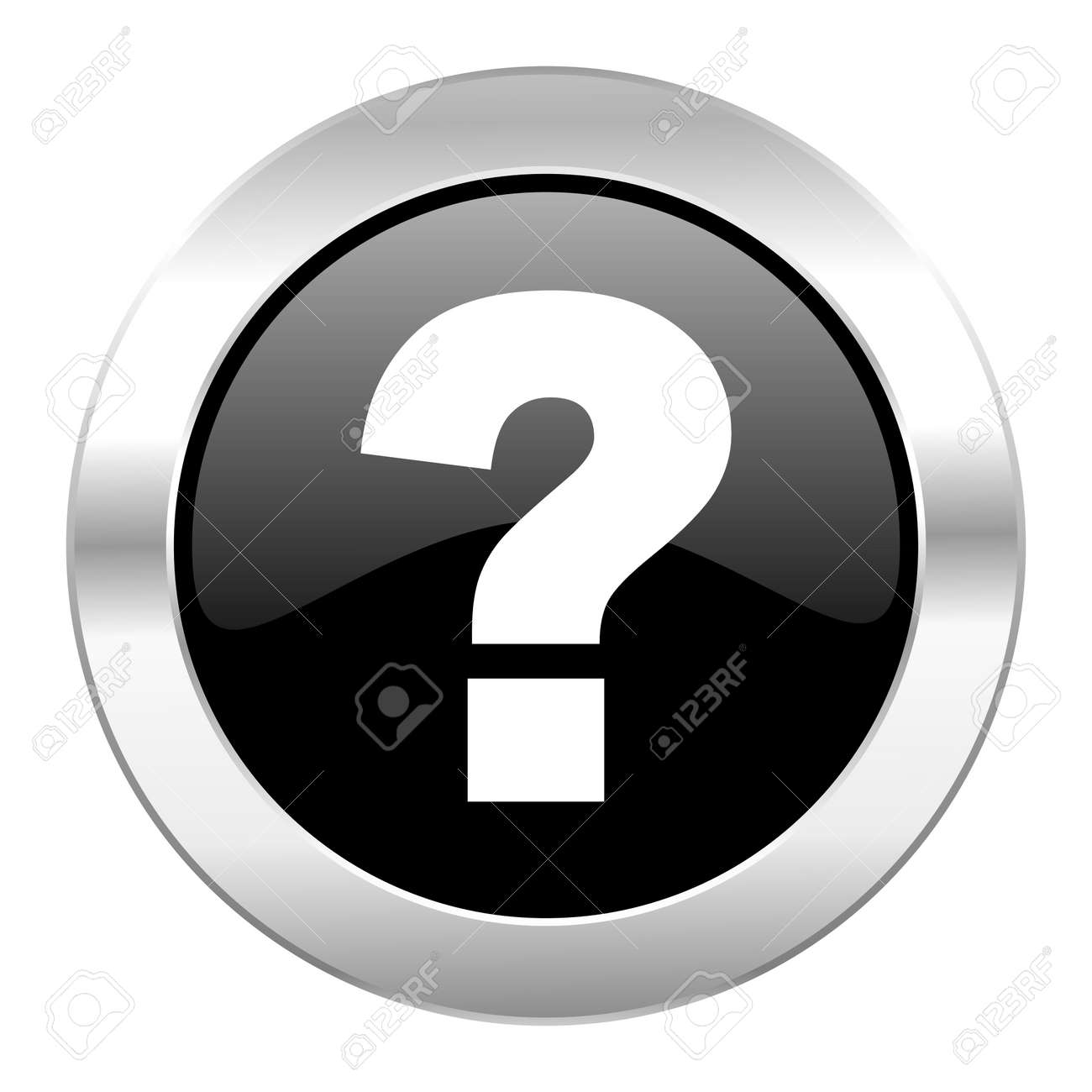 Question Mark Black Circle Glossy Chrome Icon Isolated Stock Photo ...