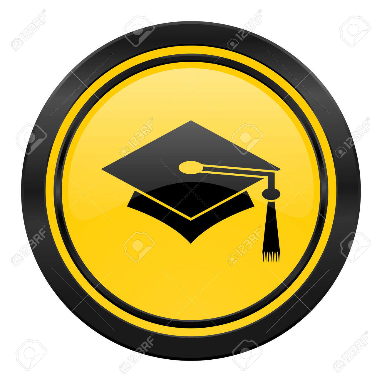education icon yellow graduation sign stock photo picture and