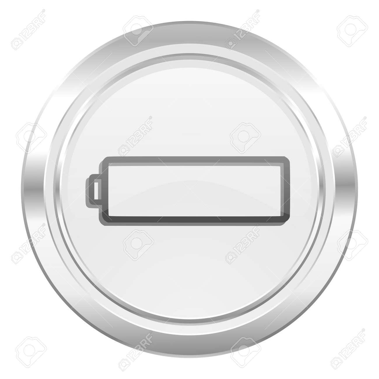 Icône De Batterie Métallique Charge Signe De La Puissance De Symbole ...