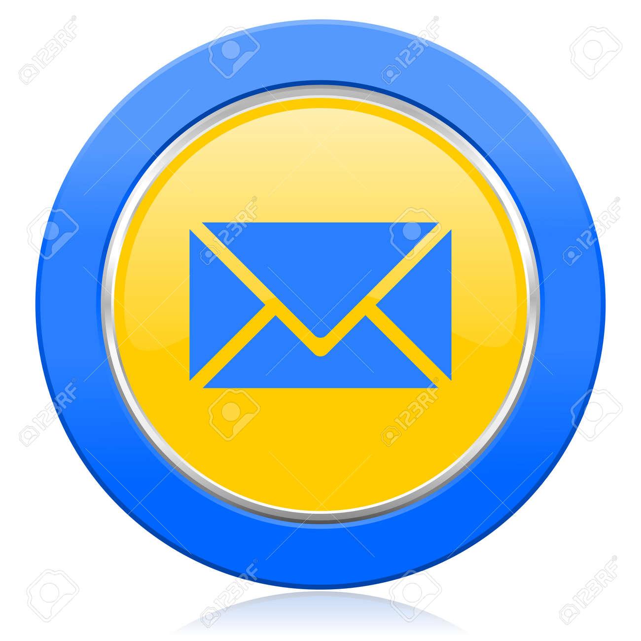 メール青黄色のアイコン郵便記号...