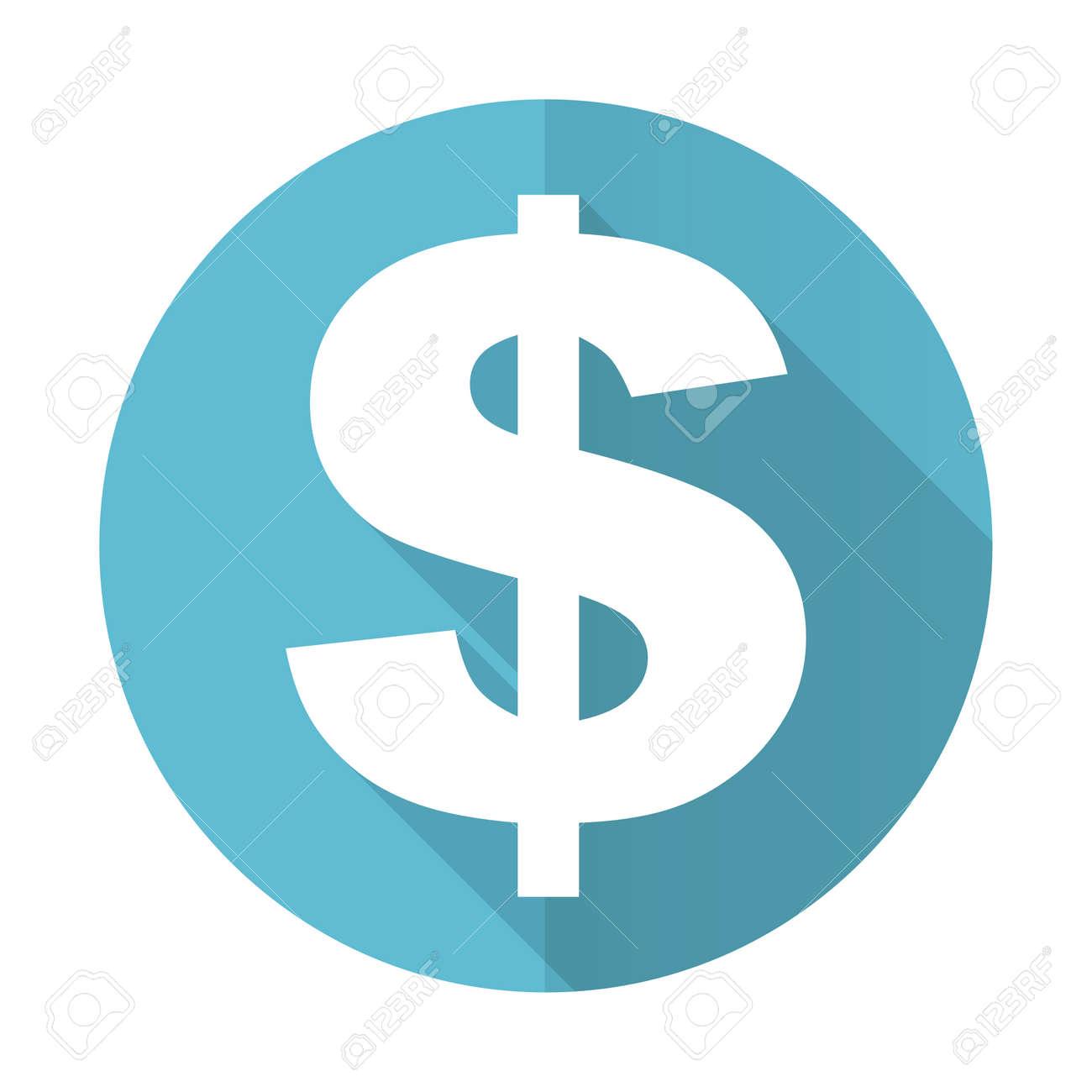dollar blue flat icon us dollar sign