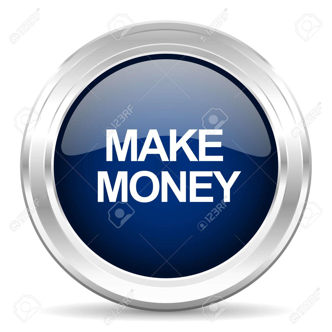 make money cirle glossy dark blue web icon on white background