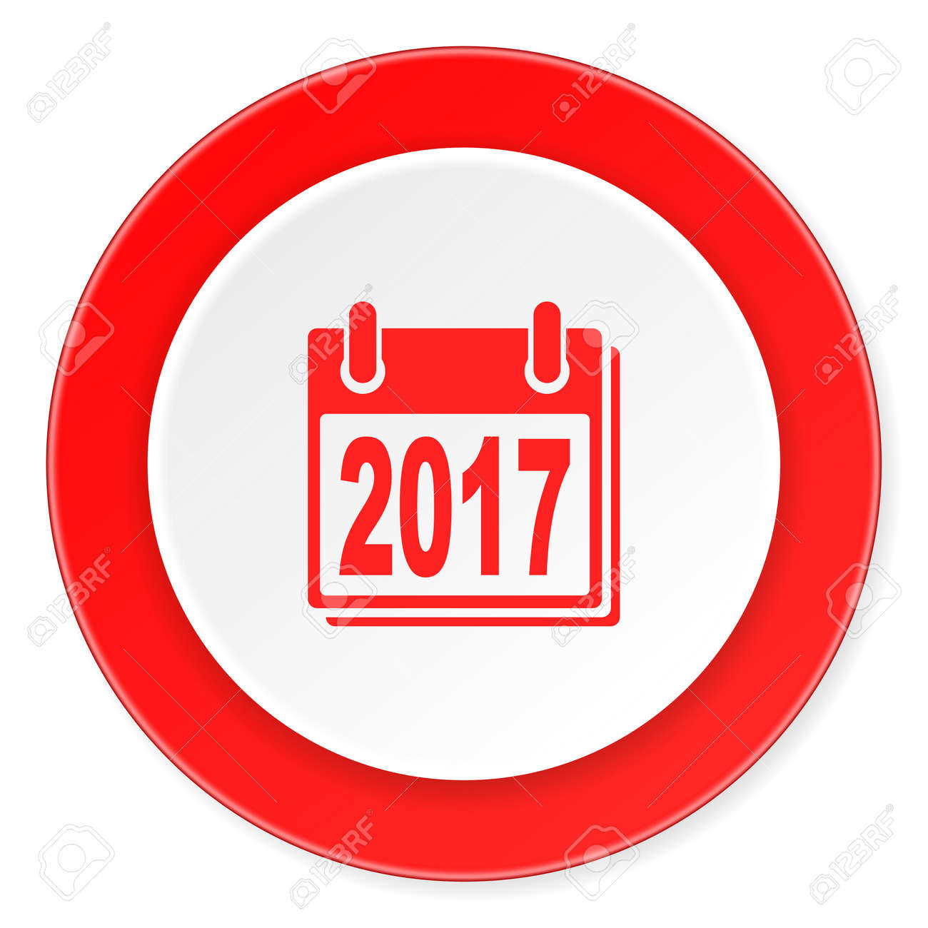New Year 2017 Red Circle 3d Modern Design Flat Icon On White ...