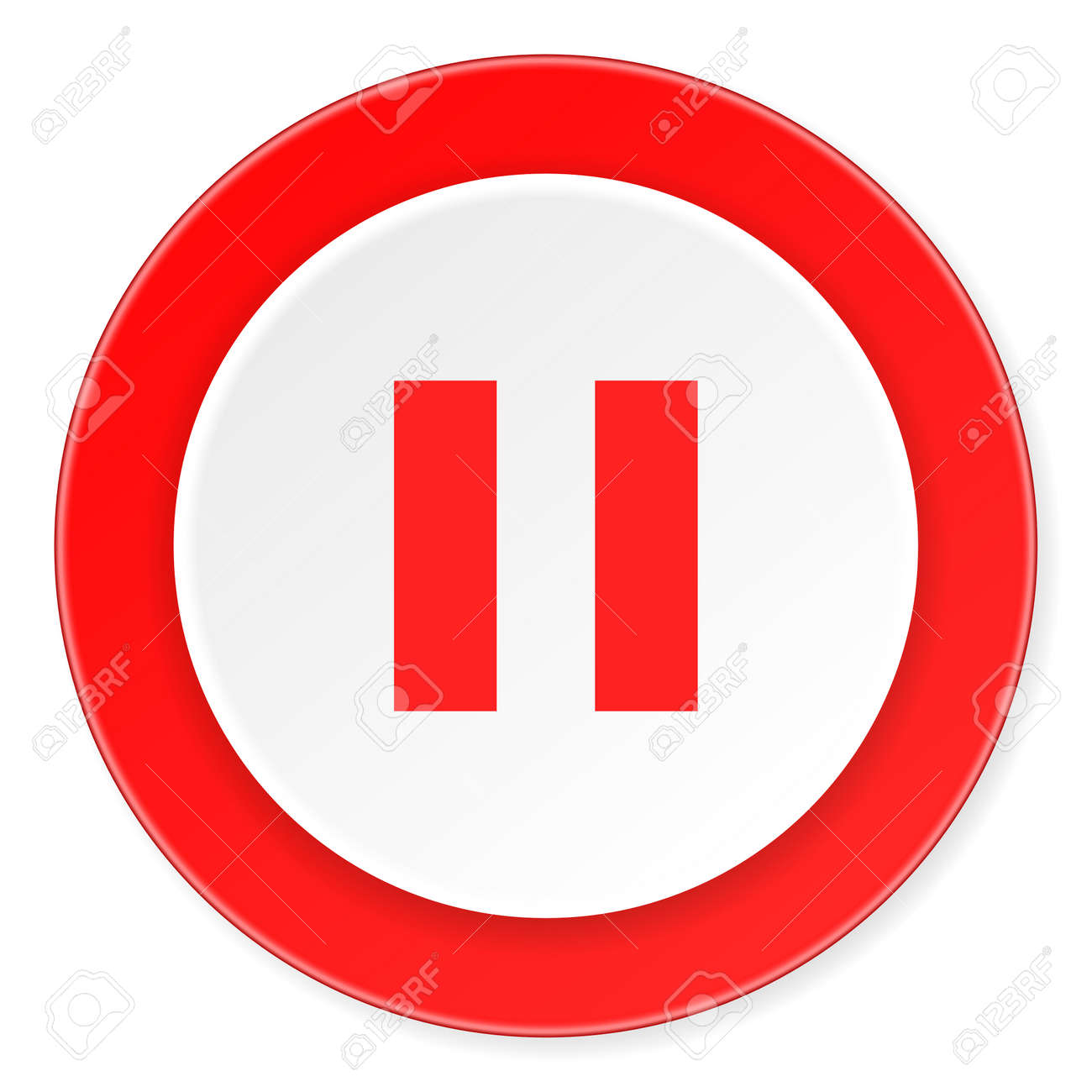 pause red circle 3d modern design flat icon on white background