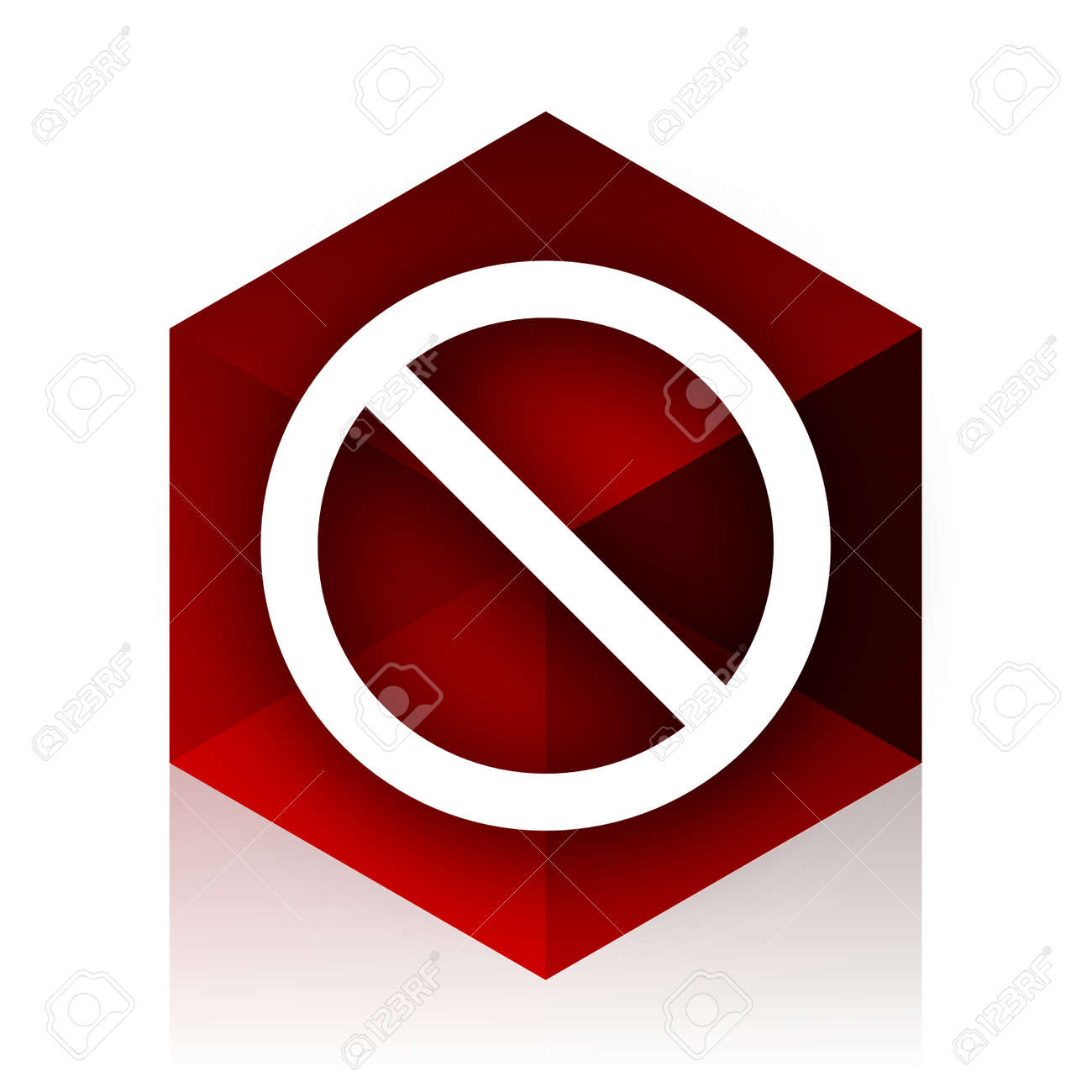 access denied red cube 3d modern design icon on white background