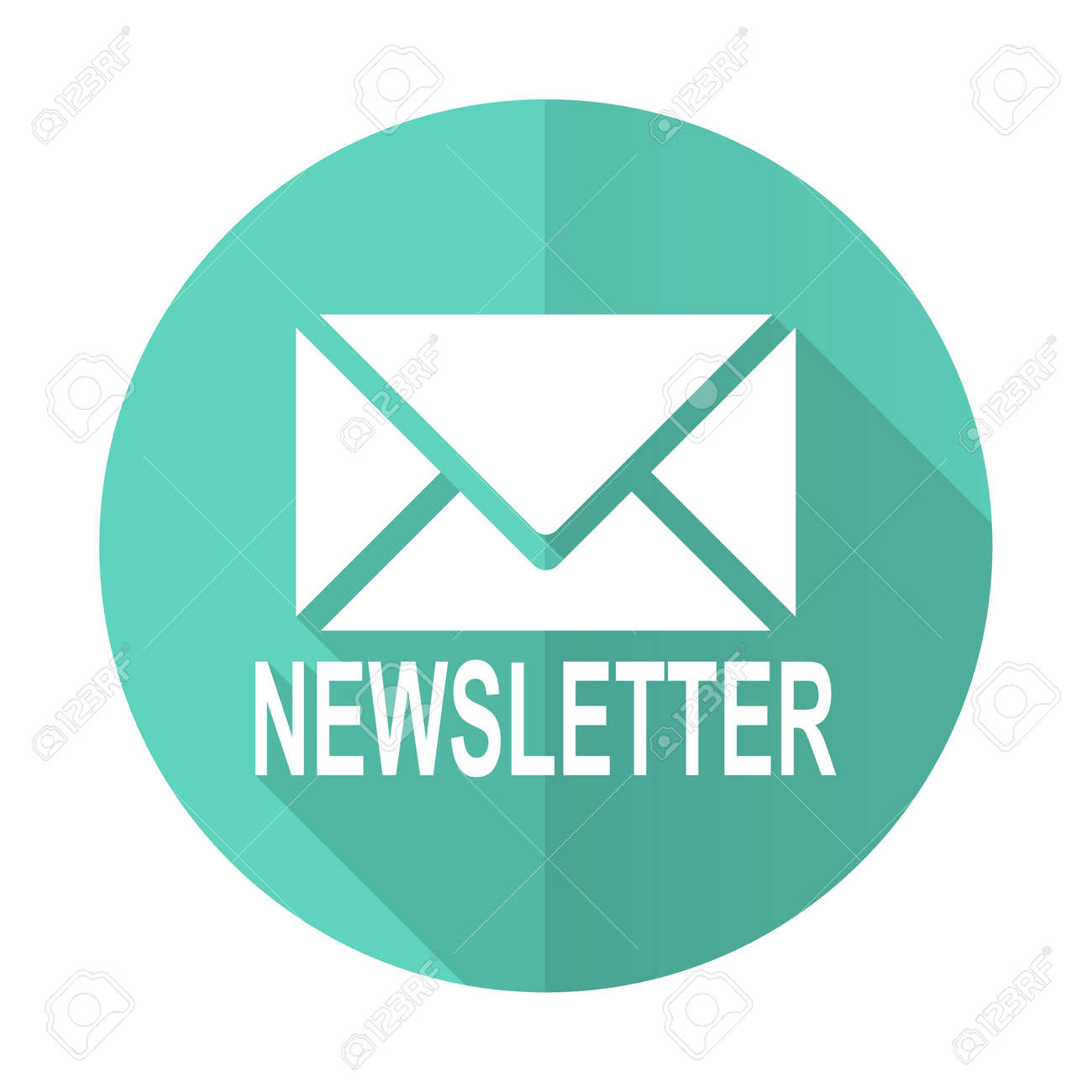 Newsletter Blue Web Flat Design Circle Icon On White Background Stock  Photo, Picture And Royalty Free Image. Image 48429564.