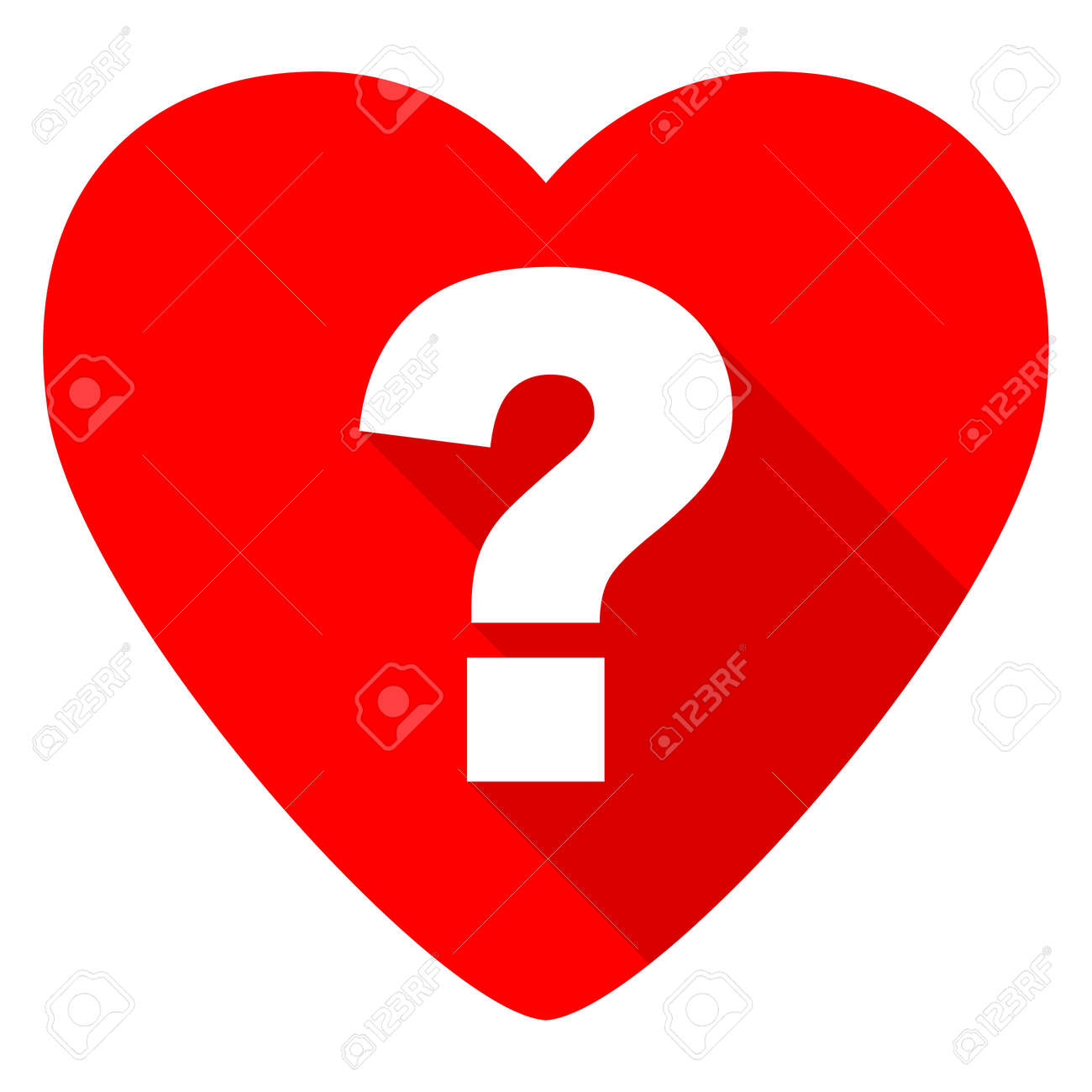 Question Mark Red Heart Valentine Flat Icon Stock Photo, Picture ...