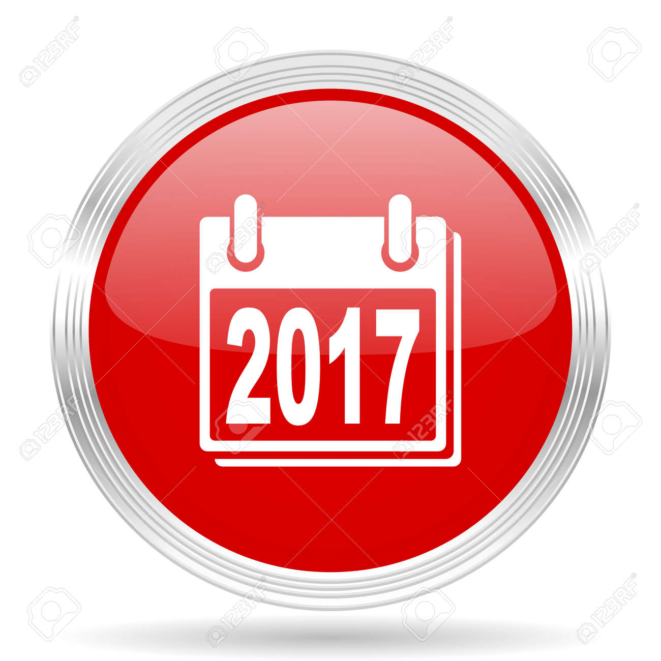 New Year 2017 Red Glossy Circle Modern Web Icon On White ...