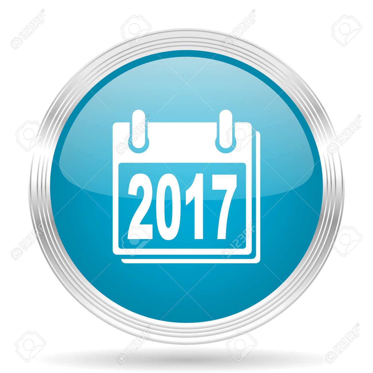 New Year 2017 Blue Glossy Metallic Circle Modern Web Icon On ...