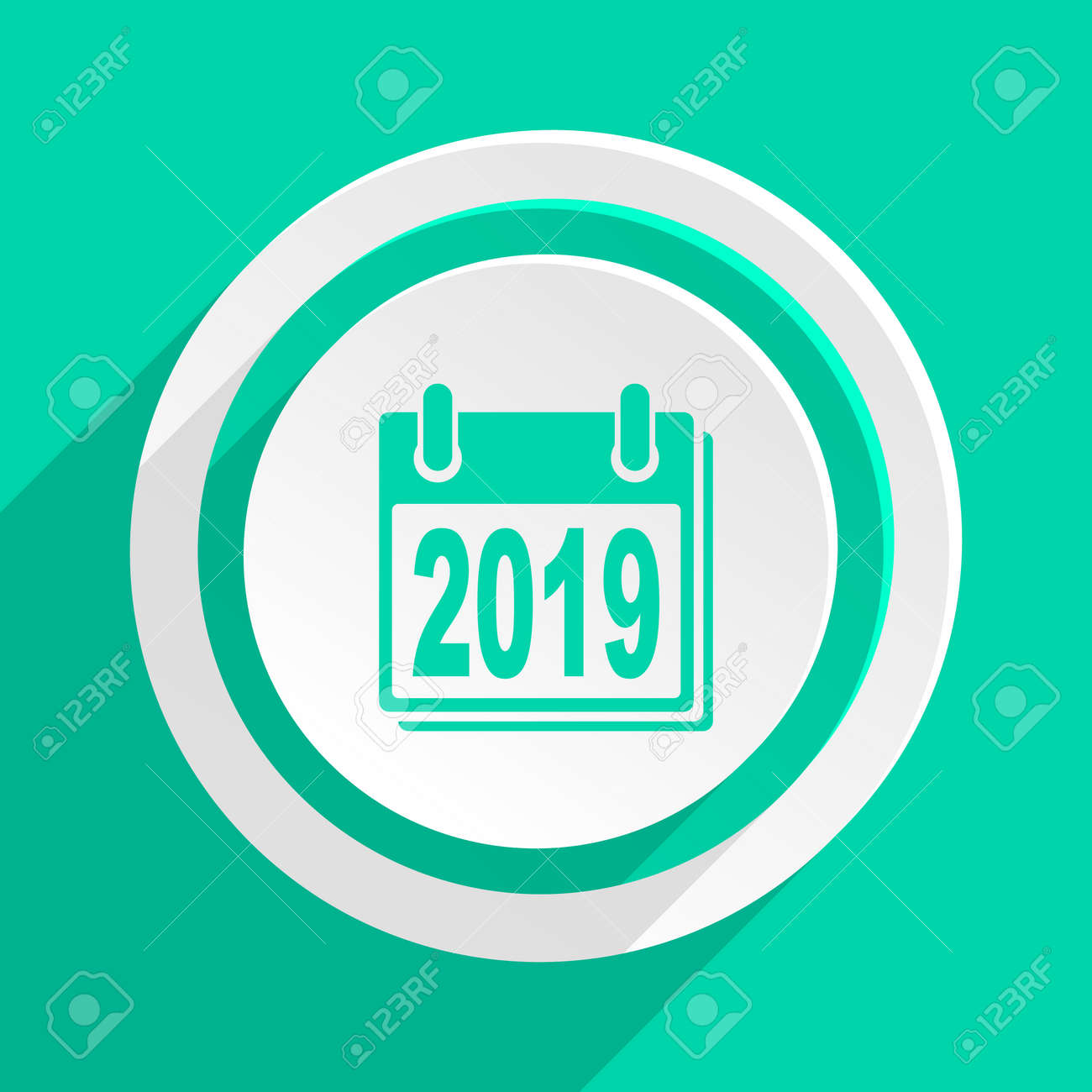 new year 2019 flat design modern web icon with shadow for internet
