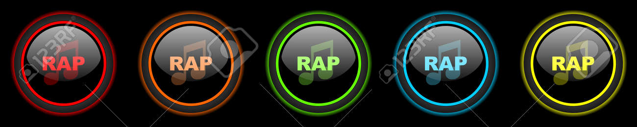 rap music colored web icons set on black background