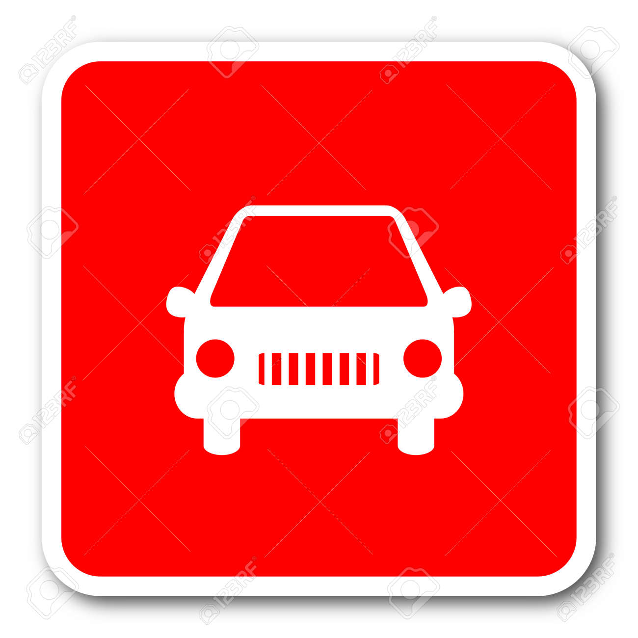 Car Red Square Simple Tag Banner Web Icon Stock Photo Picture And