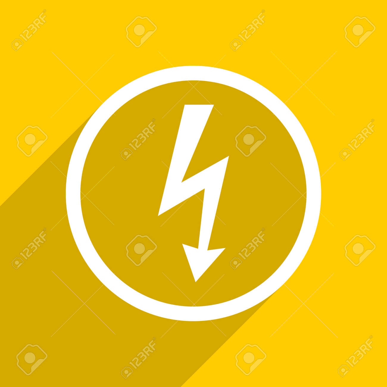 Yellow Flat Design Bolt Web Modern Icon For Mobile App And Internet Stock Photo Picture And Royalty Free Image Image 56765350