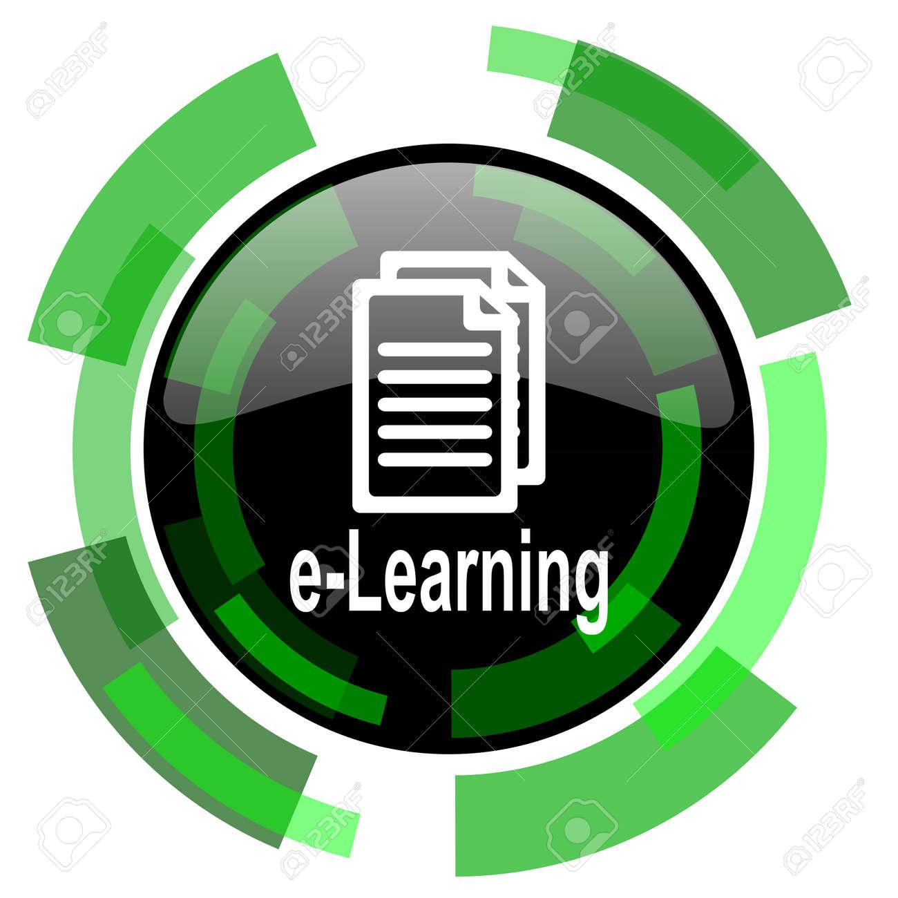 E Learning Symbol Grün Modernes Design Glänzend Runde Taste Web