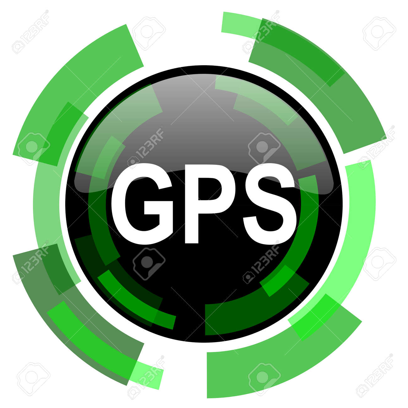 gps icon green modern design glossy round button web and mobile