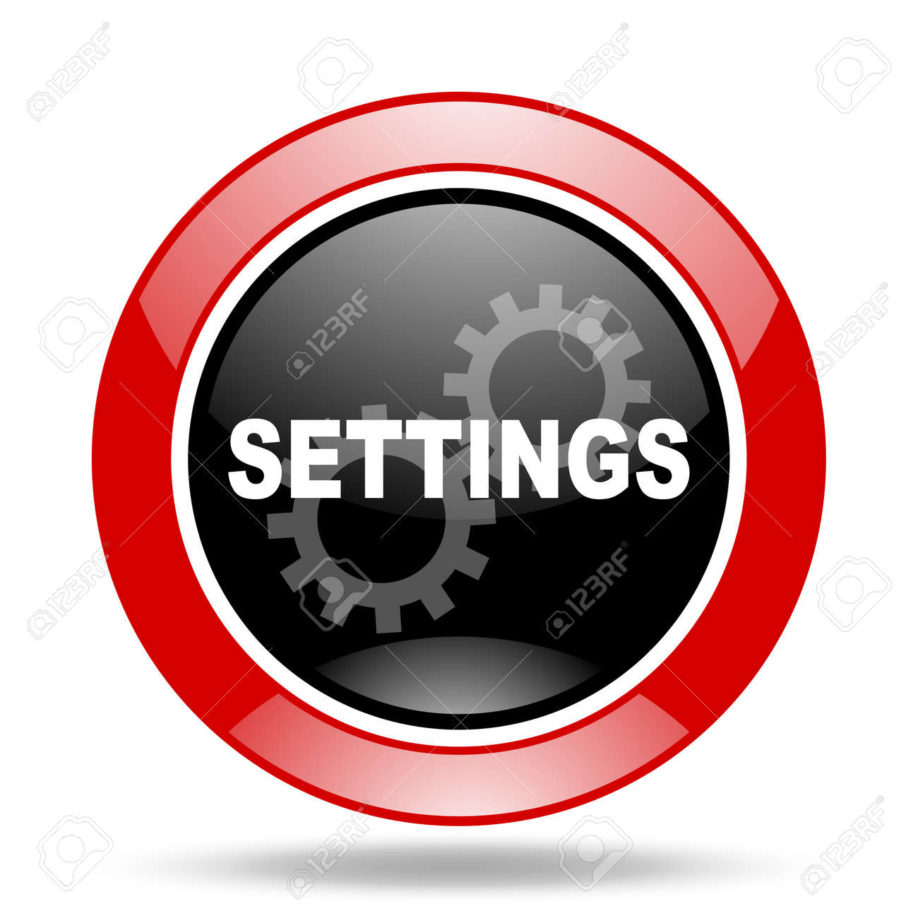 Settings Round Glossy Red And Black Web Icon Stock Photo Picture And Royalty Free Image Image 61715135