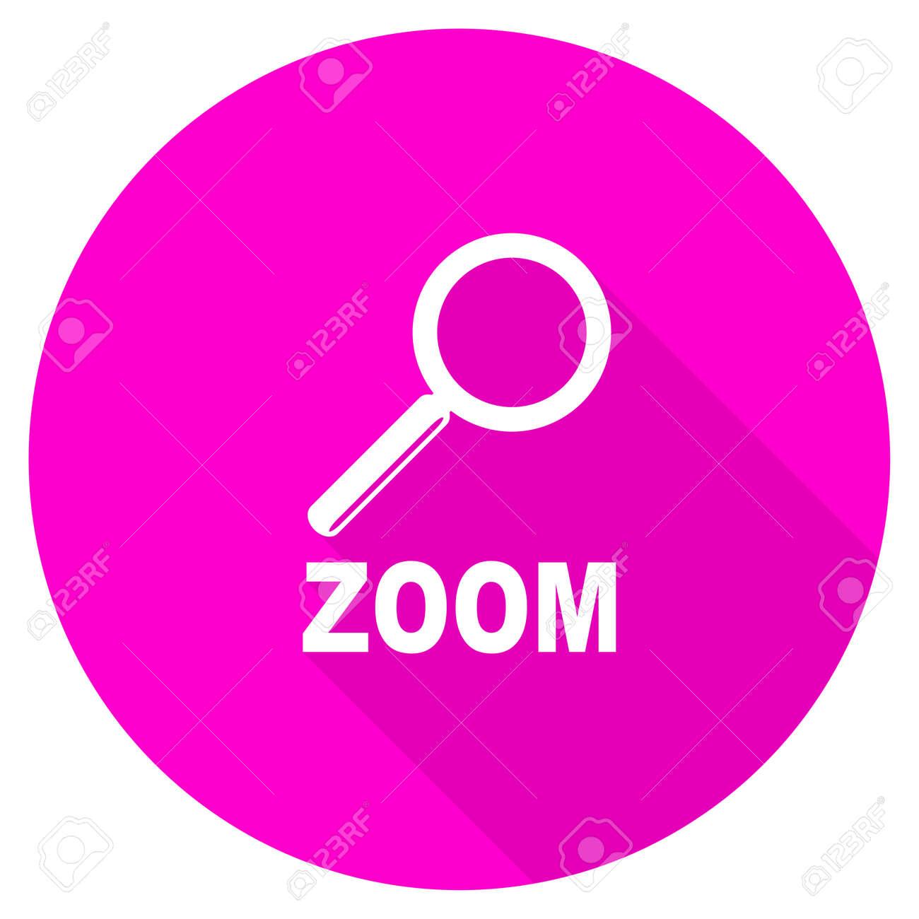 Zoom Flat Pink Icon Stock Photo